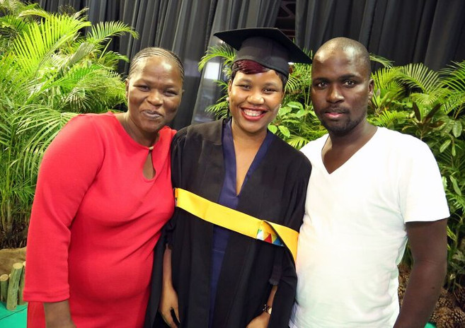 Ms Sanelisiwe Ngobo celebrating her LLM achievement with her mother Ms Ncamisile Ngcobo and brother Mr Thabiso Ngcobo.